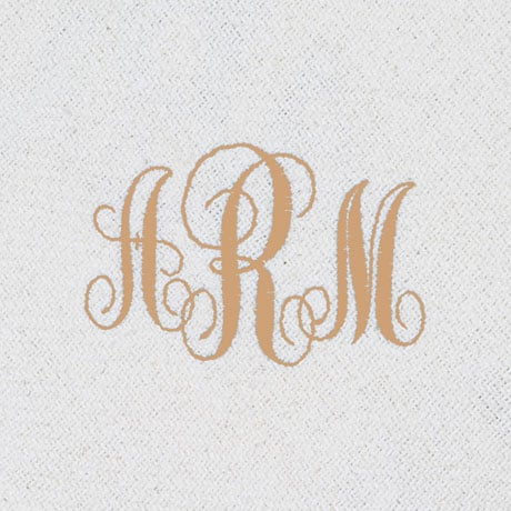 Monogrammed Ivory Throw Blanket
