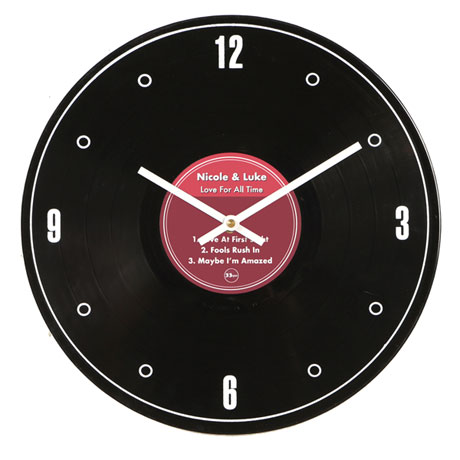 Personalized Genuine LP Record Clock