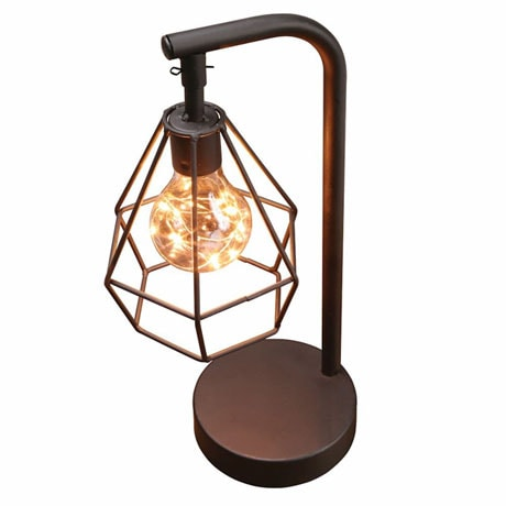 "Table Desk Accent Lamp - 12"" H Metal Vintage Cage LED Light"
