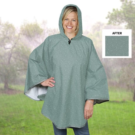 Magic Water Reveal Rain Poncho - Moisture Activated Paisley Pattern - Sage Green
