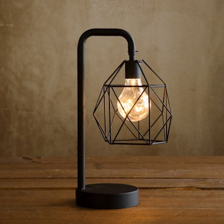 "Industrial Style Metal Cage Desk Lamp - Black - Cordless Accent LED Light - 12"" High"
