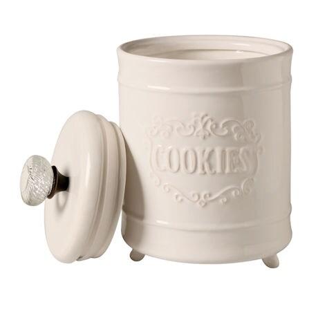 "Door Knob Circa Cookie Jar - White Ceramic 8"" High Container - By Mud Pie"