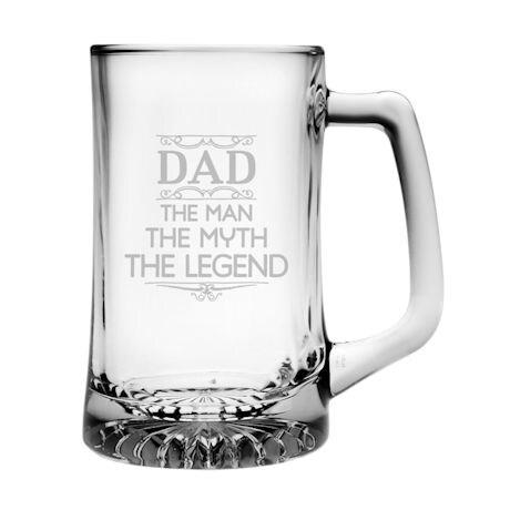 """Dad: The Man, The Myth, The Legend"" Beer Mug"
