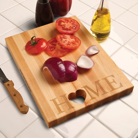 """Words with Boards Maple Hardwood Cutting Board - """"Home"""" with Hand-Cut Heart Accent"""