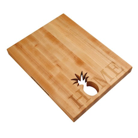 "Words With Boards Maple Hardwood Cutting Board - ""Home"" with Hand-Cut Pineapple Accent"
