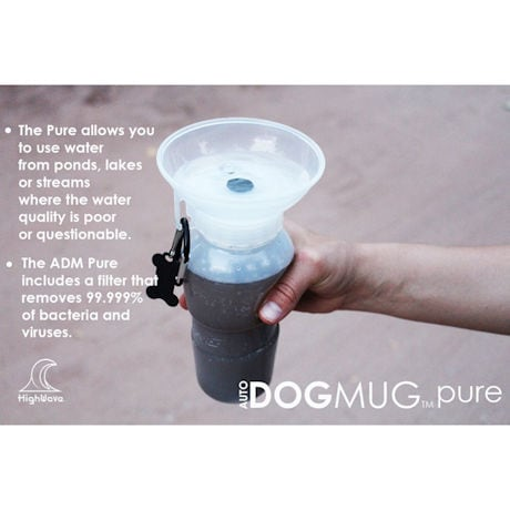 HighWave AutoDogMug Pure Portable Water Bottle for Dogs - Ceramic Filter Removes Contaminants