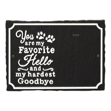 """My Favorite Hello"" Pet Memorial Photo Plaque"
