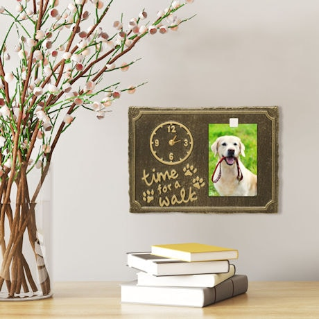 'Time For A Walk' Pet Photo Wall Clock