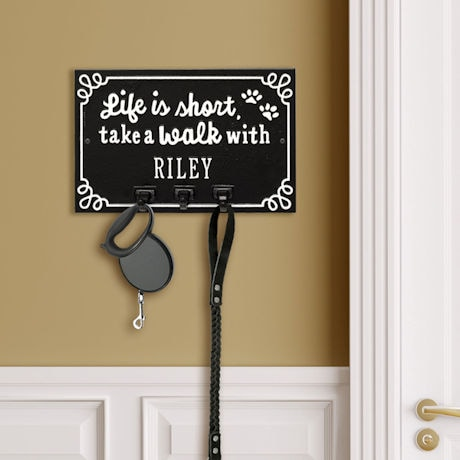 Personalized 'Life is Short, Take a Walk' Leash Hook