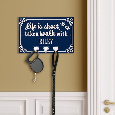"""Personalized """"Life is Short, Take a Walk"""" Leash Hook"""