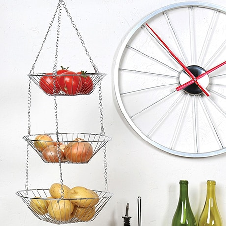 3-Tier Chrome Hanging Fruit Basket
