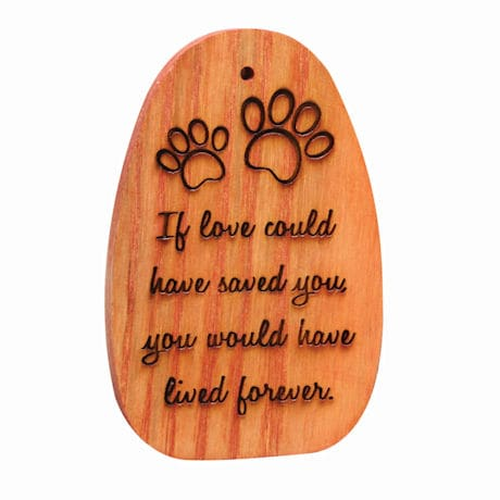 "Amazing Grace Woodstock Chimes - Engraved Pet Memorial ""If love could have saved you..."""