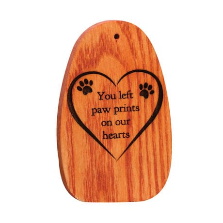"""Amazing Grace Woodstock Chimes - Engraved Pet Memorial """"You left paw prints..."""""""