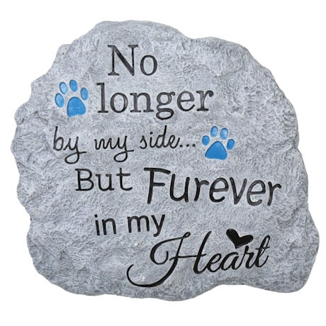 Pet Memorial Garden Stone and Wall Hanging - Indoor/Outdoor Paw Print Plaque for Dog or Cat