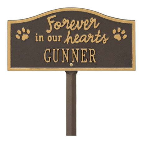 Personalized 'Forever in Our Hearts' Pet Memorial Yard Plaque