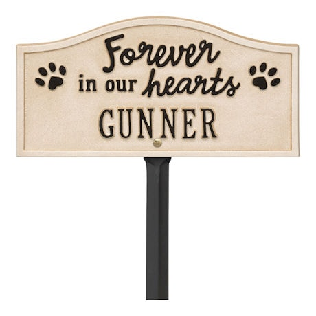 """Personalized """"Forever in Our Hearts"""" Pet Memorial Yard Plaque"""