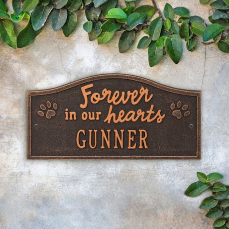 Personalized 'Forever in Our Hearts' Pet Memorial Wall or Ground Plaque