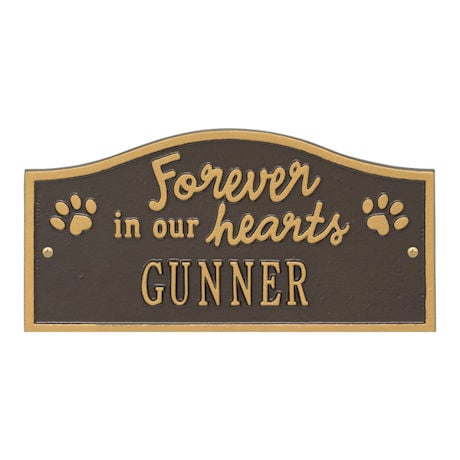 """Personalized """"Forever in Our Hearts"""" Pet Memorial Wall or Ground Plaque"""