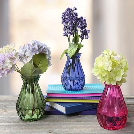 3 Piece Mini Glass Bud Vase Set