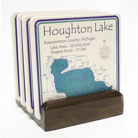 Personalized Lake Art Set Of 4 Coasters With Dark Wood Stand