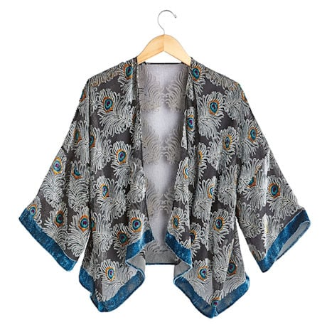 Peacock Feathers Velvet Jacket