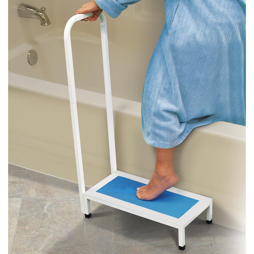 Bathtub & Shower Step Stool With Handle & Non-Slip Grip-Steel Holds ...