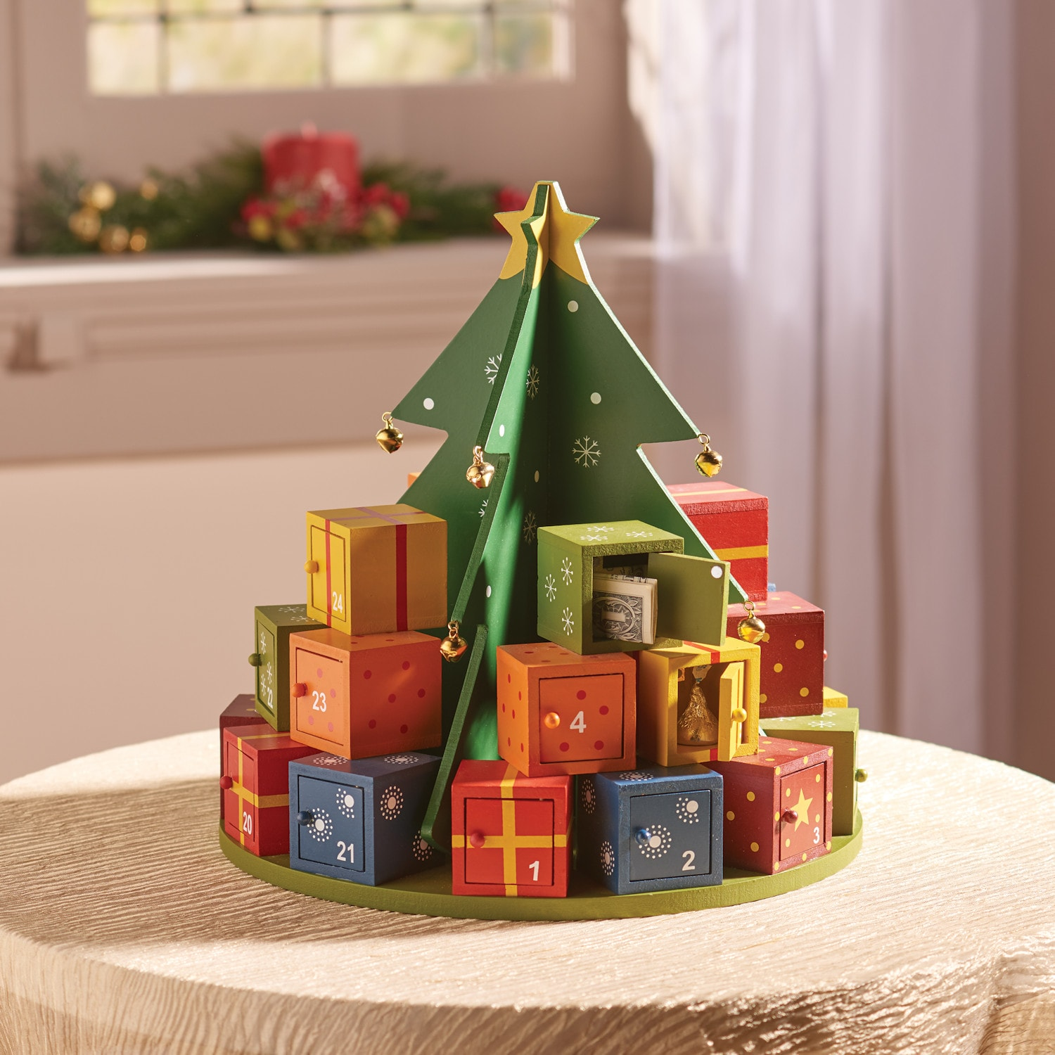 Wooden Christmas Tree Advent Calendar Holiday Countdown Tree 24 Numbered Boxes Ebay