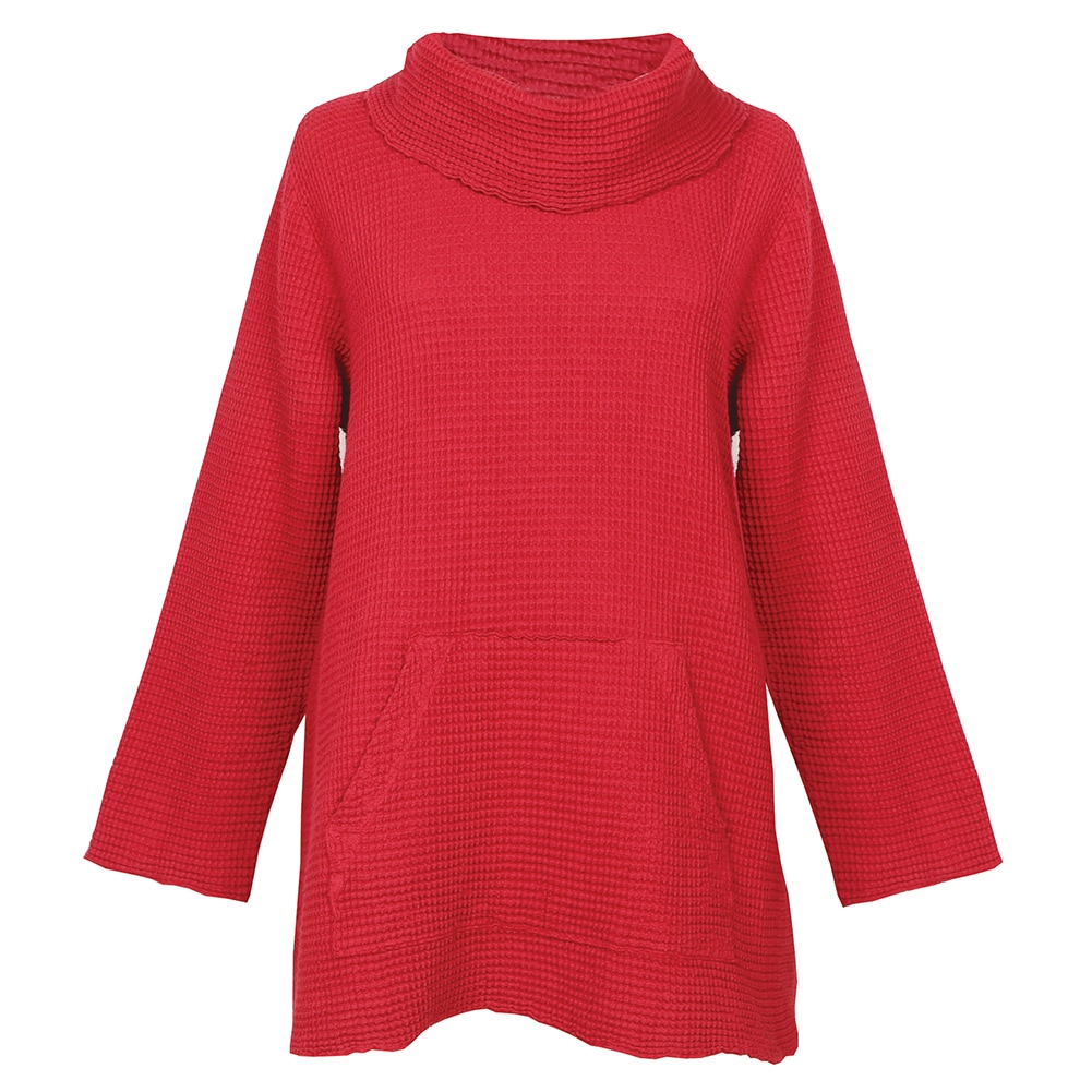 Cozy is your middle name in this textured tunic, styled with long sleeves and a beautiful cowl neckline. Wear it on days you want a little laidback luxe. Soft, textured fabric. Tunic length with cowl neckline. Regular length: 30