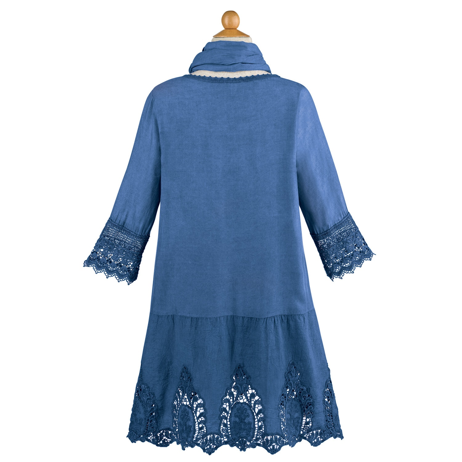 deaf5a53b05 Women s Lace Trimmed Tunic Top   Scarf Set- 3 4 Sleeve Round Neck ...
