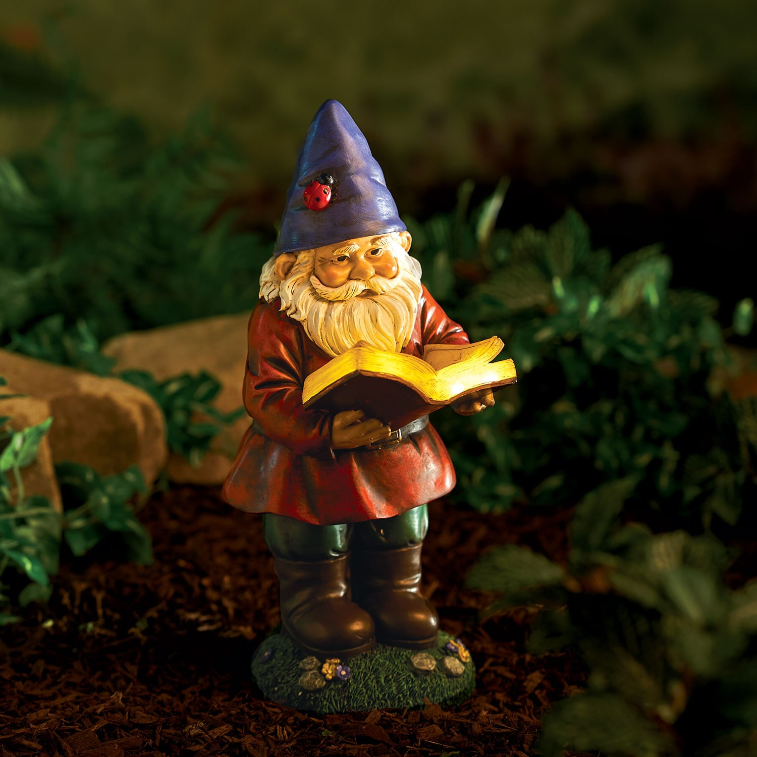 Lawn Ornaments Or Automotive Outsider >> Lighted Reading Garden Gnome Statue Solar Light Up Lawn Patio Yard