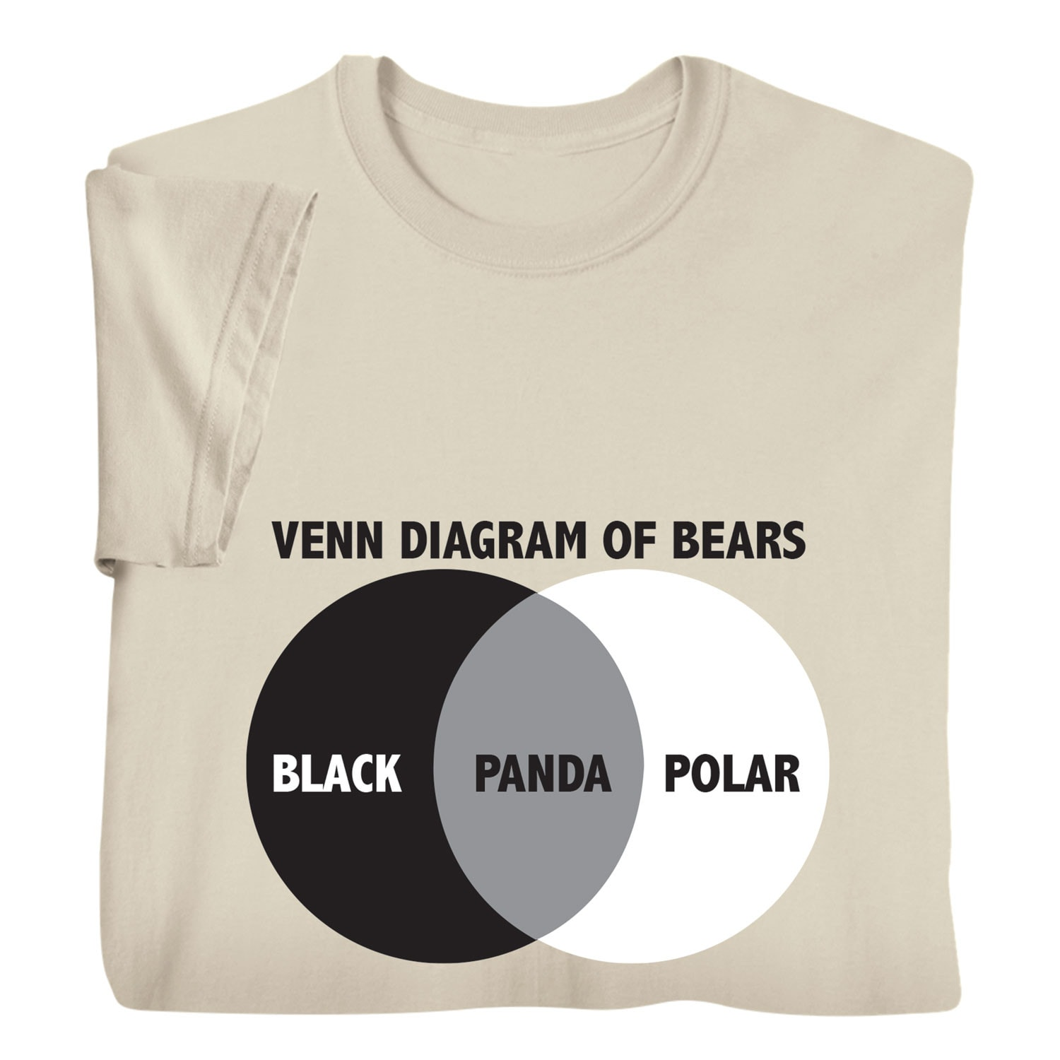 2958a1263 Details about What On Earth Men's A Venn Diagram of Bears Funny Beige Top,  Panda T-Shirt