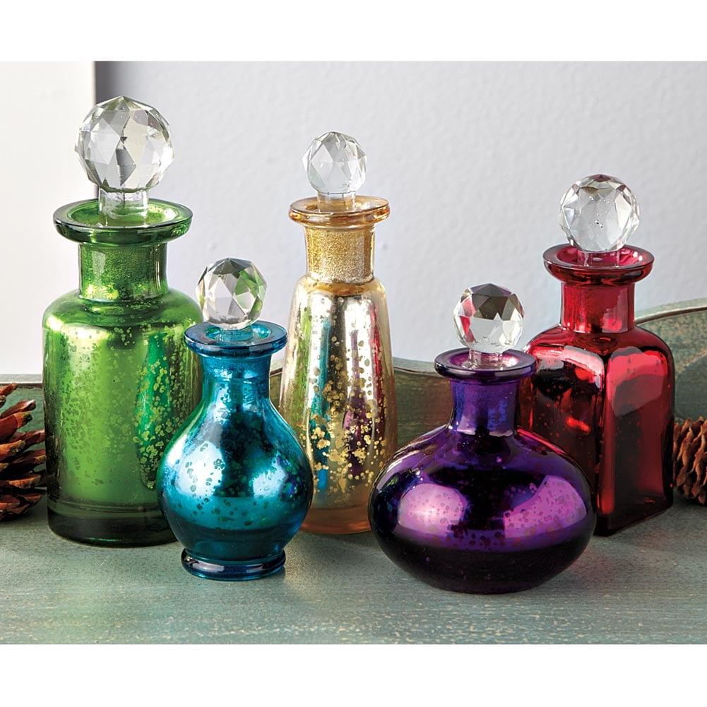 bohemia decorative mercury glass bottle set of 5 antique replica bottles ebay. Black Bedroom Furniture Sets. Home Design Ideas