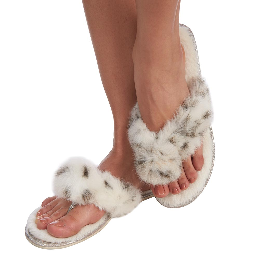 Universal Direct Brands Lacie Pom-Pom White Faux Fur Flip Flop Slippers at Sears.com