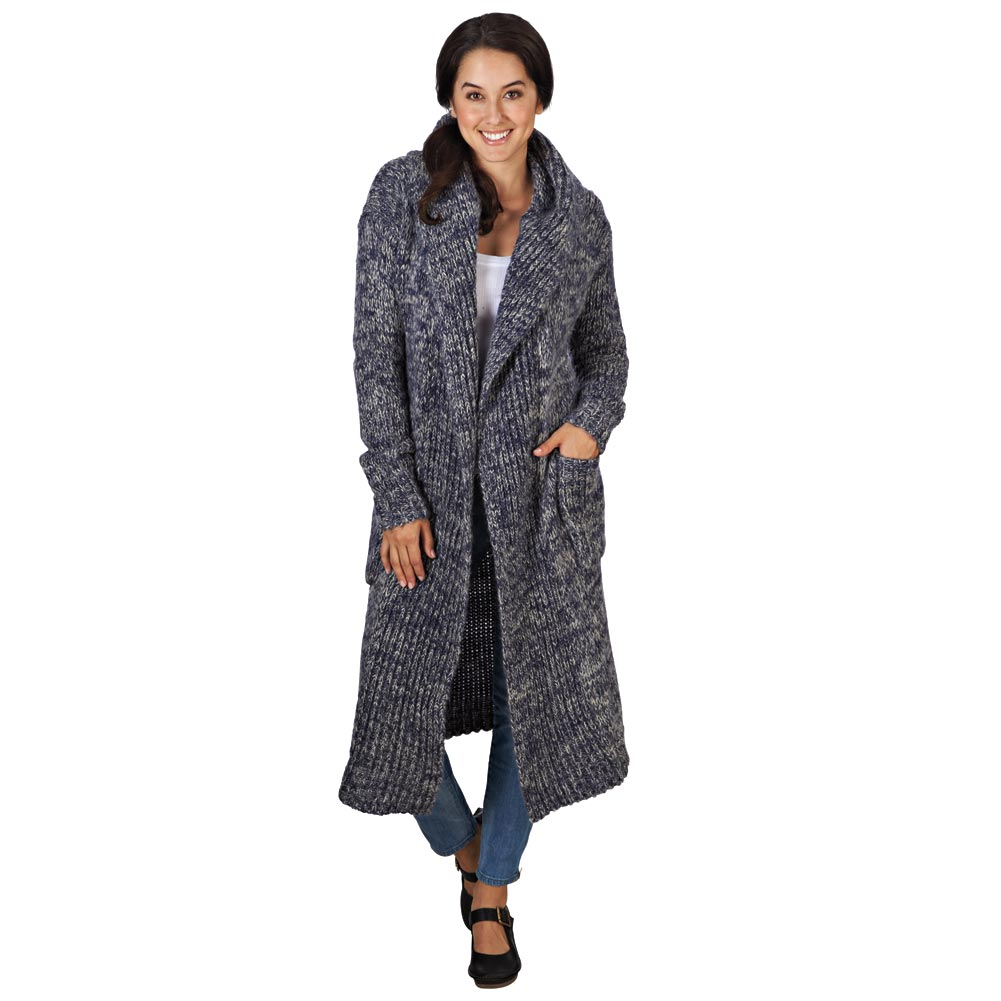 FLORIANA Women's Wuthering Lengths Chunky Blue Sweater Coat
