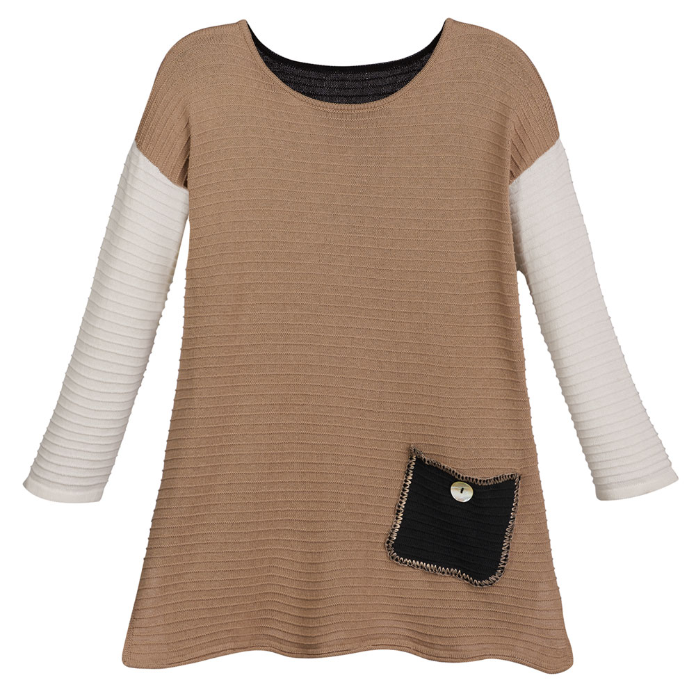 Universal Direct Brands Women's Cafe Au Lait Colorblock Cotton Pullover Sweater