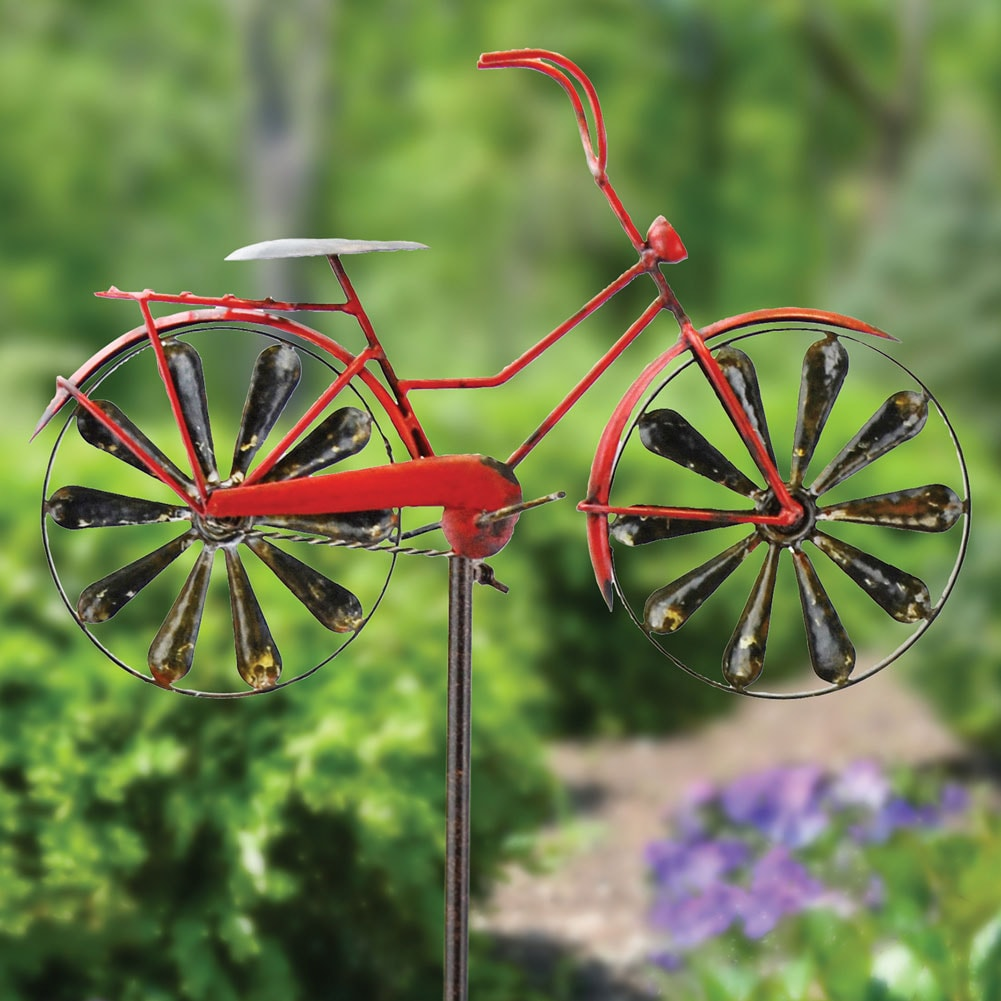 Vintage Red Bicycle Garden Wind Spinner Ebay