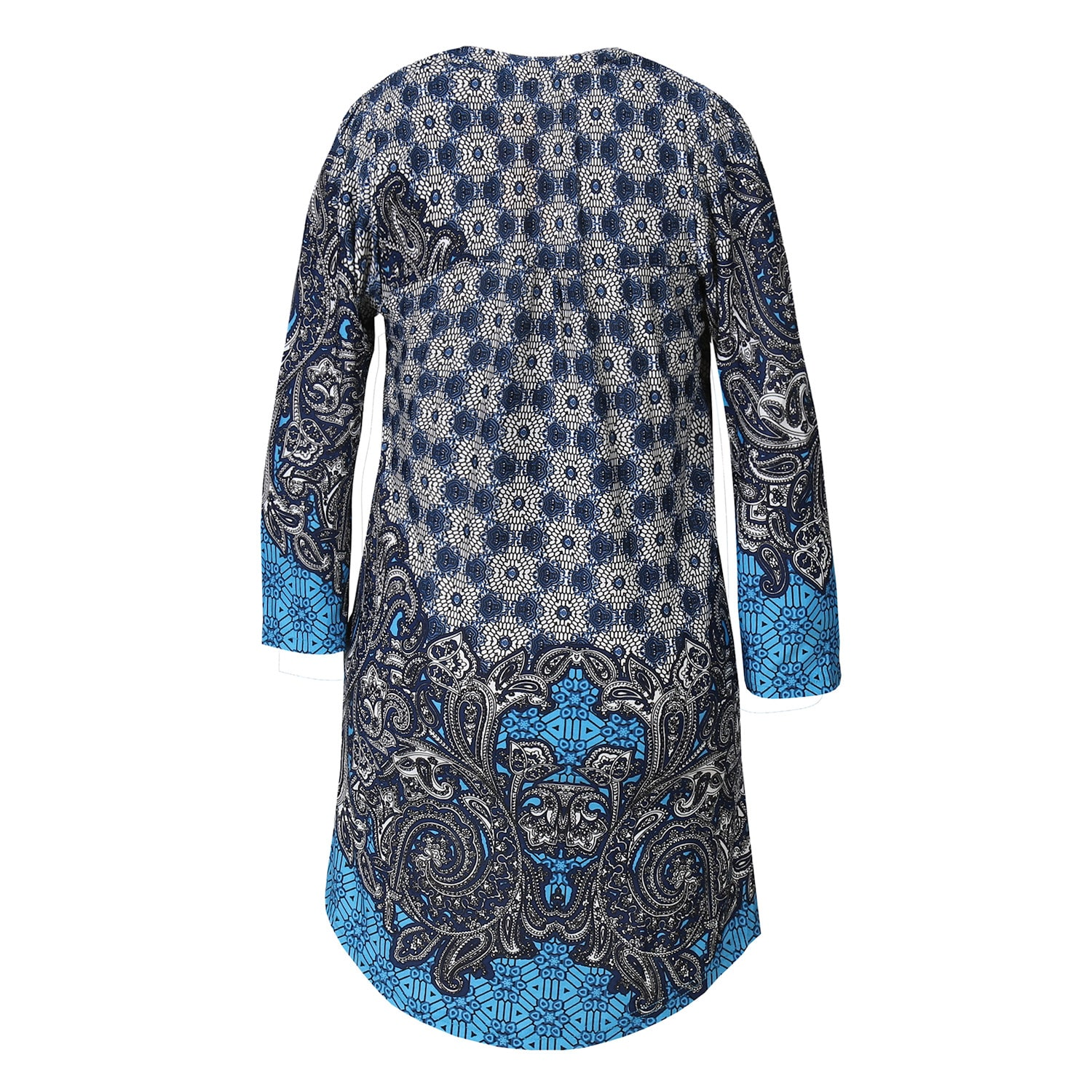 Women-039-s-Pleated-Paisley-Tunic-Top-3-4-Sleeve-Blouse-Ivory-Red-Turquoise-Navy thumbnail 11