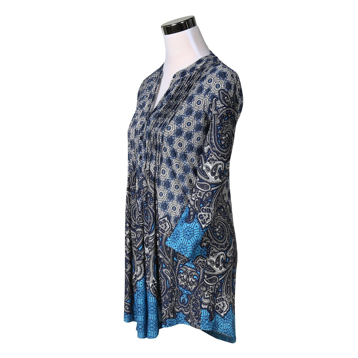 Women-039-s-Pleated-Paisley-Tunic-Top-3-4-Sleeve-Blouse-Ivory-Red-Turquoise-Navy thumbnail 12