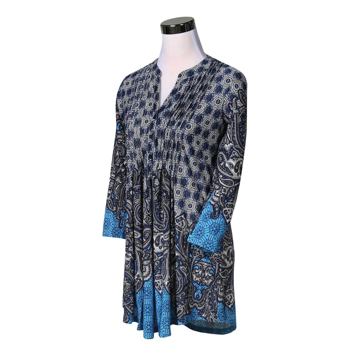 Women-039-s-Pleated-Paisley-Tunic-Top-3-4-Sleeve-Blouse-Ivory-Red-Turquoise-Navy thumbnail 13