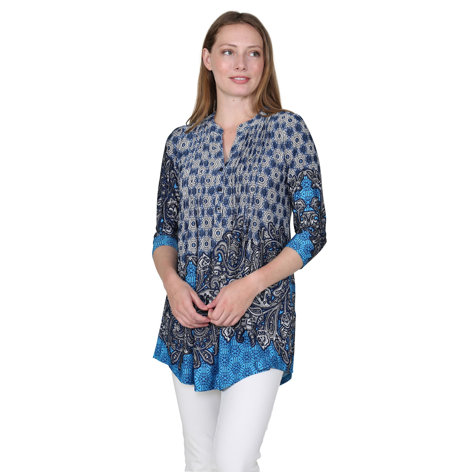 Women-039-s-Pleated-Paisley-Tunic-Top-3-4-Sleeve-Blouse-Ivory-Red-Turquoise-Navy thumbnail 9