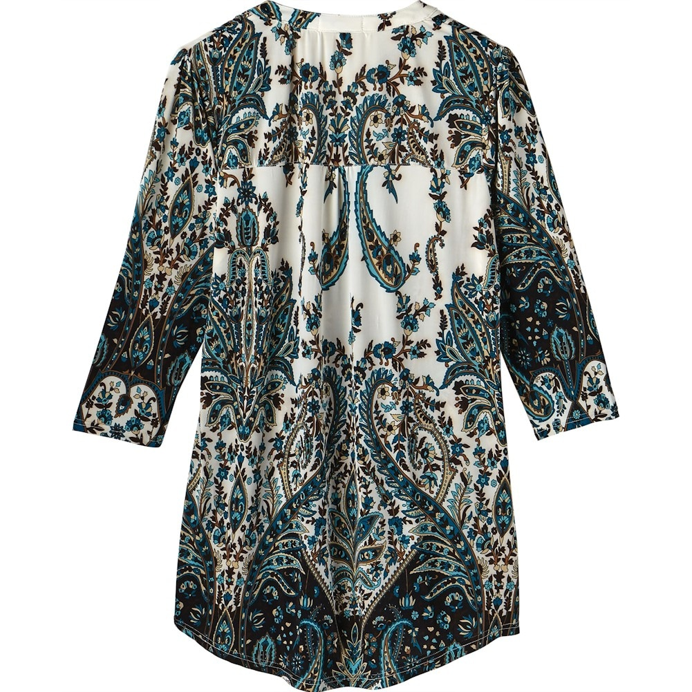 Women-039-s-Pleated-Paisley-Tunic-Top-3-4-Sleeve-Blouse-Ivory-Red-Turquoise-Navy thumbnail 7