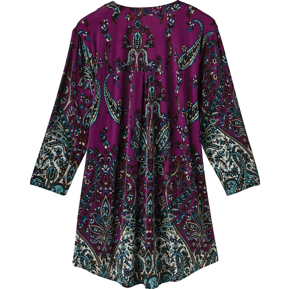 Women-039-s-Tunic-Top-Pleated-Paisley-3-4-Sleeve-Printed-Blouse thumbnail 9