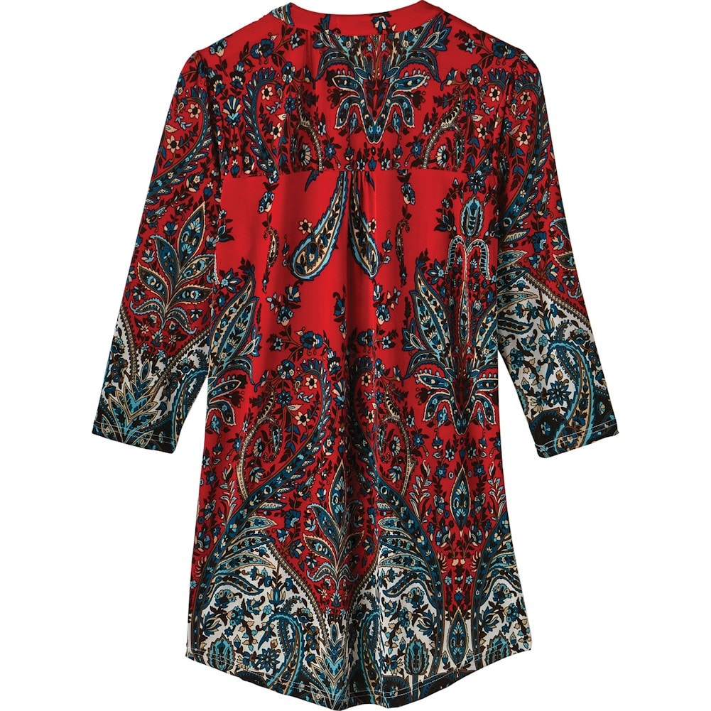Women-039-s-Pleated-Paisley-Tunic-Top-3-4-Sleeve-Blouse-Ivory-Red-Turquoise-Navy thumbnail 18