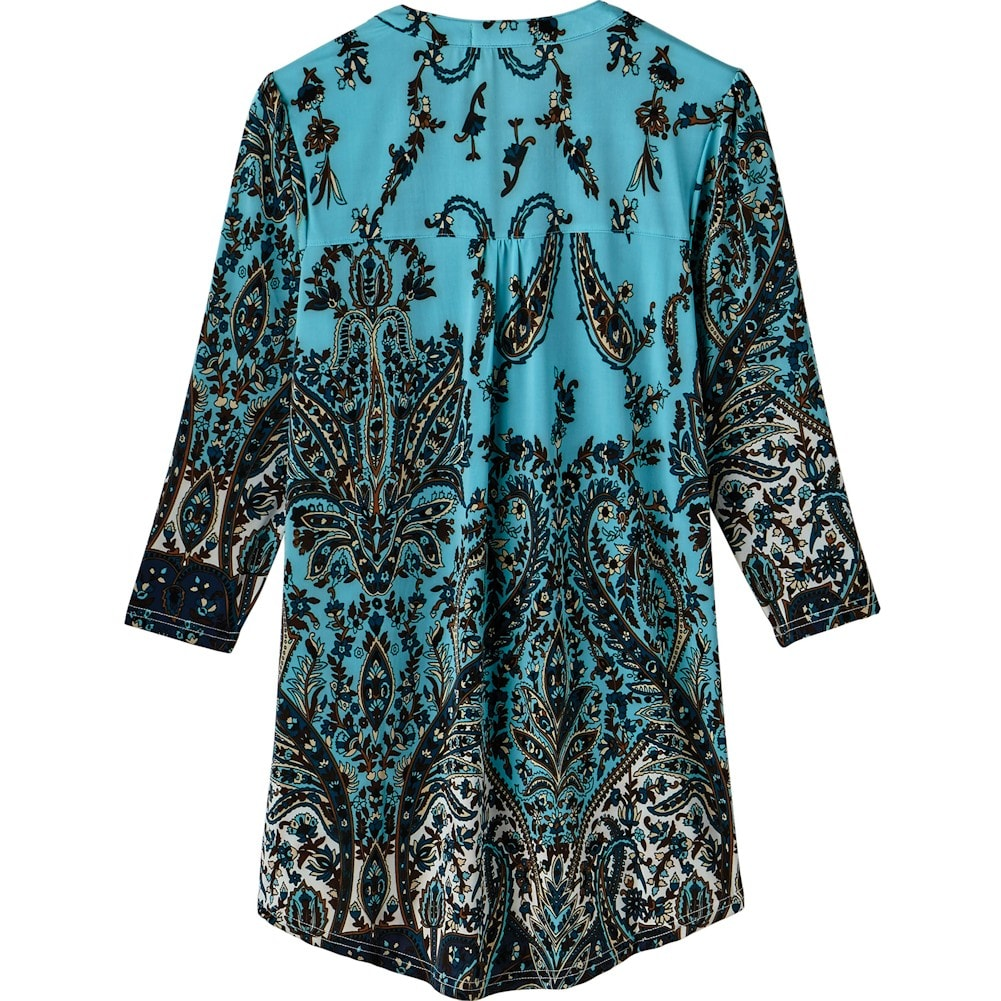 Women-039-s-Pleated-Paisley-Tunic-Top-3-4-Sleeve-Blouse-Ivory-Red-Turquoise-Navy thumbnail 20