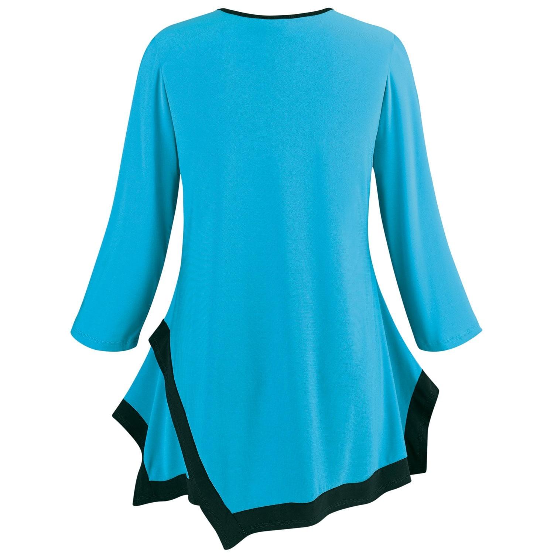 Caribe-Women-039-s-Tunic-Top-Emboldened-Border-3-4-Sleeve-Blouse thumbnail 18