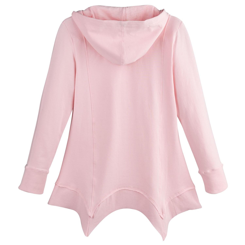 Women/'s French Terry Zip-Up Hoodie Tunic Style Sharkbite Hem Hooded Sweatshirt