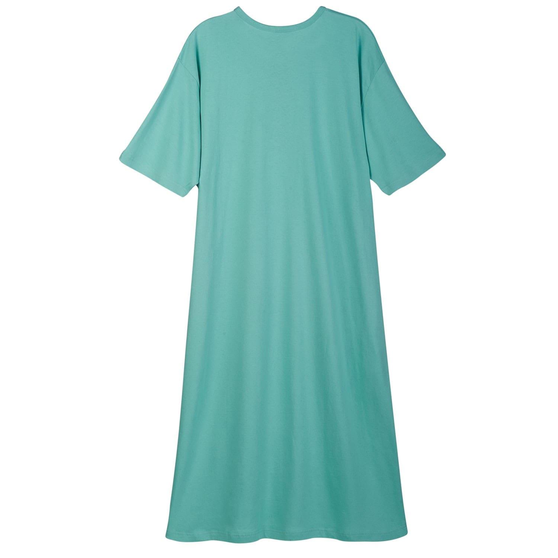 Pajama Sleep Shirt Catalog Classics Women/'s Long Henley Nightshirt