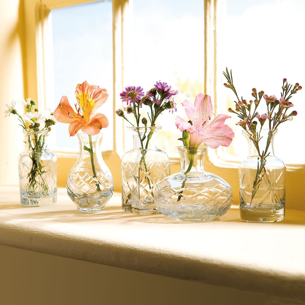 Unique cut glass clear glass vases set of five bud vase to unique cut glass clear glass vases set of five bud vase to small bouquet floridaeventfo Image collections
