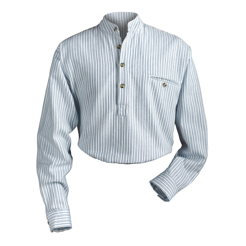 Mens Irish Grandfather Blue And White Stripe Banded Collar Shirt Ebay