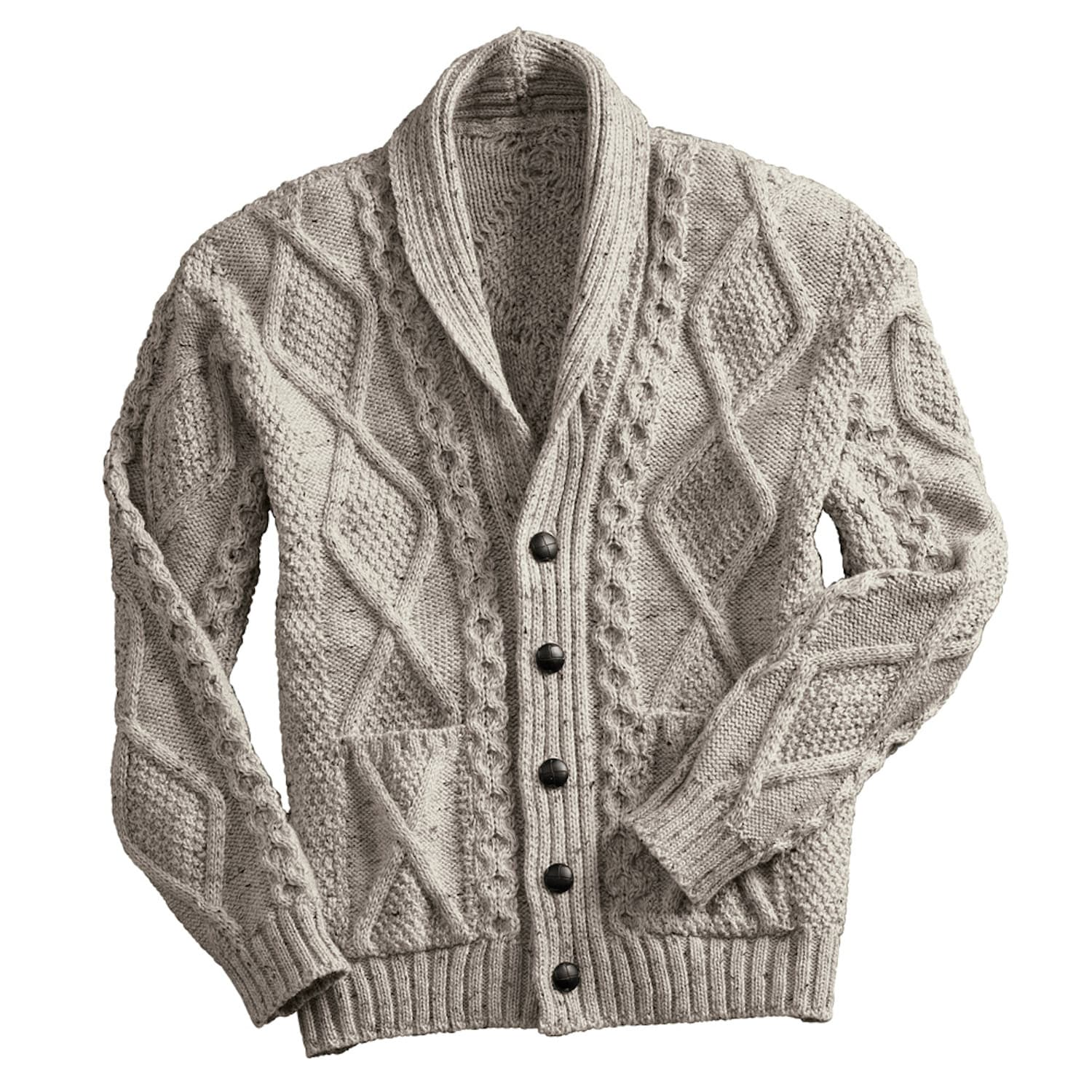 Mixed cable knit patterns distinguish this cardigan sweater, a perfect lightweight fall layer.
